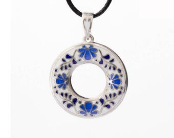 Sterling silver enamel flower ornament pendant