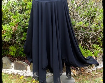 Black Chiffon Double Full Length Pixie Skirt with Mini Skirt, Size Medium - Ready to Ship - Gothic Festival Sheer Handkerchief Maxi