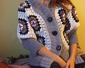 ladies granny square crocheted cardigan with knitted edges