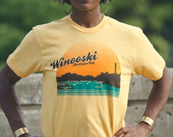 SALE Winooski Vermont shirt screenprinted tee vintage inspired USA made
