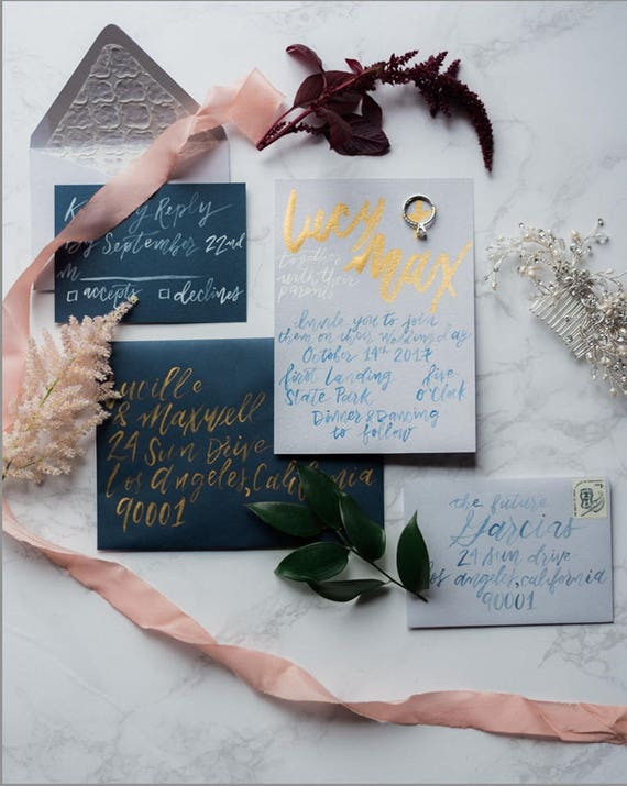 Handmade wedding invitations with hand-crafted calligraphy, no printing or digitization