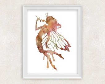 Fairy Art Print - Watercolor Painting in Brown, Pink, Green - Whimsical Fairy Art - Kids Wall Art - Home Decor 8x10 PRINT - Item #706A