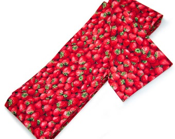 Kawaii Red Strawberries, Fruit Print Hanhaba Obi Sash for Casual Japanese Kimono Hime Style, Yukata, Cotton, Summer, Last One