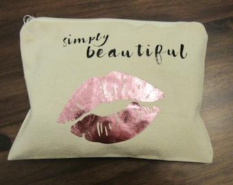 Simply Beautiful Makeup Bag Cosmetic Bag Travel Pouch Toiletry Bag Travel Bag Makeup Pouch Personalized Makeup Bag Bridal Party Gift