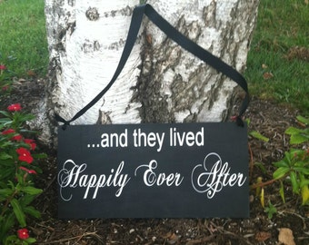 And they Lived Happily Ever After Sign Here Comes the Bride Sign Personalized Wedding Signs  - Wedding Signage Photo Prop