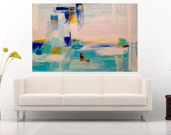 Modern Abstract Painting Large Wall Art Canvas Oil Painting Seascape Palette Knife Art Work Contemporary Office Decor Home Interior Painting