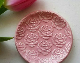 Ceramic Trinket Dish Rose Design Small Round Shaped Jewelry Dish Brides Made Gift Wedding Ring In Stock price is for One