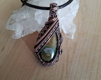 Oxidized Copper Pendant Rhyolite Rainforest Jasper Cabochon Pendant Wire Wrapped Jewelry Handmade Medallion Amulet Boho Celtic Renaissance