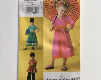 Vogue for Me 7894 Asian Oriental Wrap Style Top Dress Pants Children size 2 3 4 Uncut Sewing Pattern