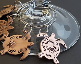 Copper turtle wine glass charms set of 4  -ocean - turtle - sea turtle