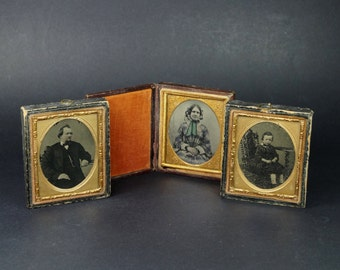 Antique Tintype Cased Photograph X 3 Victorian 1860