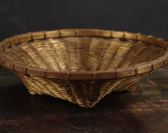 Vintage Woven Brass Basket