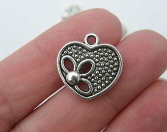 BULK 30 Heart charms antique silver tone H45