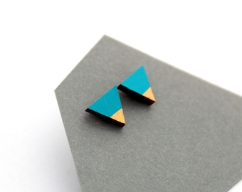 Geometric triangle stud earrings - turquoise blue, gold - minimalist, modern hand painted wooden jewelry