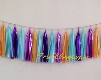ALADDIN JASMINE inspired Tassel Garland or Giant Balloon with Tassels Aquamarine Purple Gold