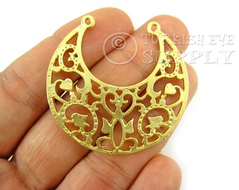 2pc Fretworked Crescent Pendant, 22K Gold Plated Brass Connector Findings, Turkish Jewelry