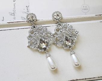 Art Deco Earrings , Vintage Style Crystal Pearl Earrings, Bridal Earrings,  Wedding Earrings,  Pearl Drop Earrings,  Stud Earrings