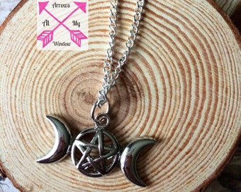 Three moon goddess necklace, Triple moon goddess pendant, Triple moon necklace, Three moon pentagram necklace, Pagen jewellery,