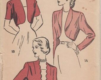 Bust 32-1940's Misses' Bolero Advance 4897 Size 14