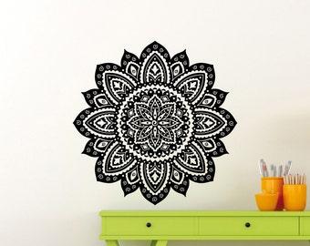 Flower Stickers Mehndi : Indian elephant wall sticker mehndi style yoga namaste vinyl