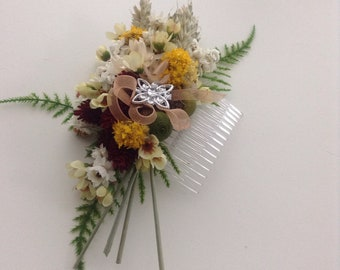 Dried Flower Hair Decoration,Hair Comb,Natural Country Flowers,Natural Rustic Boho Slide,Silk Flower Head Dec
