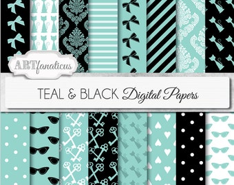 """Teal digital papers """"TEAL & BLACK """" teal, bows, cats, sunglasses, breakfast keys,hearts for scrapbooking,parties, invites, cards, home decor"""