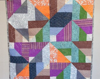 Modern Quilt - Handmade Quilt - Lap Quilt - Baby Quilt - Ready To Ship - Baby Shower Gift - Abstract