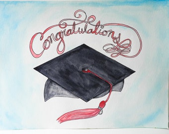 Watercolor and ink Congratulations Graduation Painting