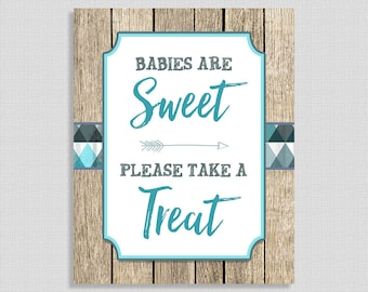 Tribal Babies Are Sweet Please Take A Treat Baby Shower Sign, Rustic, Arrow, Wood, Favor Sign, Teal & Gray, INSTANT PRINTABLE