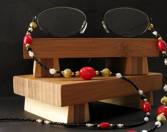 Eyeglass Lanyard or Badge Necklace. Apple Red Eyeglass Chain. Beaded Lanyard. Red Lanyard. Badge Lanyard. Eyeglass Necklace.