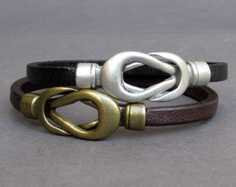 2x Couples Bracelets, Matching Bracelets,Nautical Knot Leather Cuff, His Her Bracelet, Best Friend bracelets Customized On Your Wrist