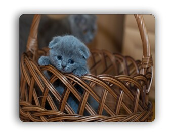 Gray Kitten In Basket Computer Mouse Pad Pets Cats