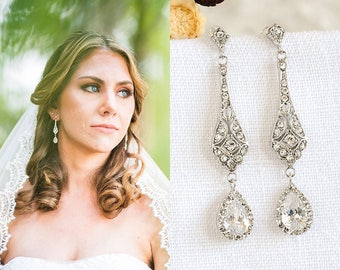 Bridal Crystal Earrings, Wedding Earrings, Crystal Teardrop Dangle Earrings, Vintage Style Earrings, Old Hollywood Bridal Jewelry, TRISSIE