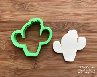Cactus with Flower Cookie Cutter. Chubby Cookie Cutter. 3D Printed. Flower Cookie Cutter. Chubby Cactus Cookies. Easter Cookies.