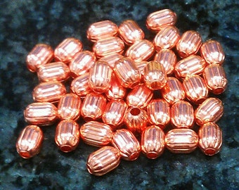 4.7 x 6.5 mm Corregated Barrel Solid Copper Beads. Made in the USA.