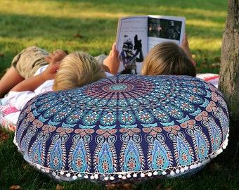Blue Mandala Floor Pillow Cushion Cove Seating Throw Cover Hippie Decorative Indian Mandala Floor Pillow Cover Round Blue Ottoman Pouf Cover