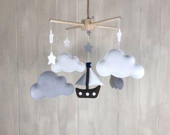 Sailboat mobile - cloud mobile - baby crib mobile - baby mobile - sky mobile - nautical baby mobile
