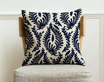 Handmade home throw decorative pillow cover 18x18 in,Navy Floral Decorative Pillow case with Zipper.Burlap cushion pillow covers for sofa