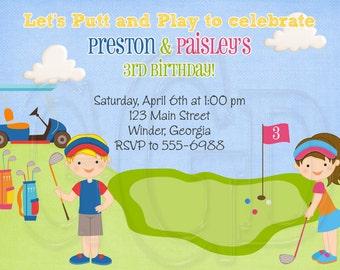 Mini Golf Invitation, putt putt invite, golf invite, golf invitation, mini golf birthday, golf party, golf birthday,  -Digital File