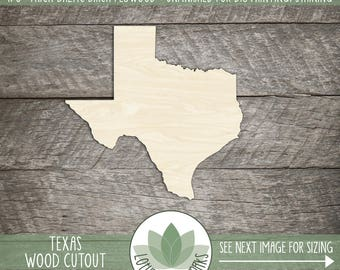 State Of Texas Wood Laser Cut Shape, DIY Craft Supply, Many Size Options, Wood State Shapes, Wood Texas, Blank Wood Shapes