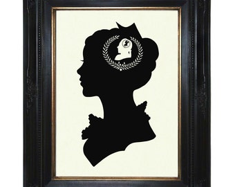 Silhouette Girl Art Print Woman Lady Love Valentine's Day Victorian Steampunk Art Print Shadow Cut
