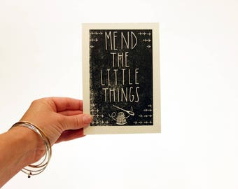 Mend the Little Things letterpress linocut wall art print