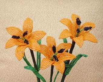 3 Handmade Orange Lilies ... Beaded Flowers