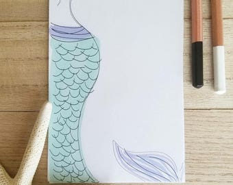 Mermaid Thoughts Notepad-40 pages, List pad, Stationery, Handmade