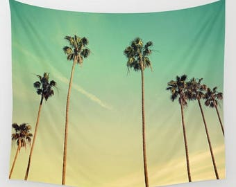 Vintage palm trees,Nature Wall Tapestry,Wall Décor,photography,nature tapestry,nature wall hanging,palm leaves,palm decor,meditation,clouds