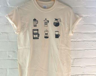 Coffee T-Shirt, Food Shirt, Coffee Gift, Screen Printed T Shirt, Clothing Gift, Foodie Gift