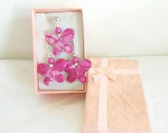 Adornment necklace and earrings Pink Butterflies - A26