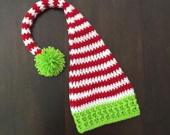 Crochet Santa's Little Helper Holiday Elf Stocking Hat for Newborn Baby Toddler Child Boy or Girl Photography Prop