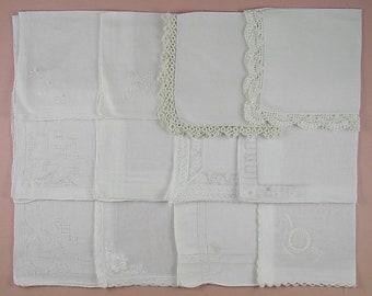 Vintage Hanky Lot,Wedding Hanky Lot,One Dozen White Wedding Vintage Hankies Handkerchiefs (Lot #93)