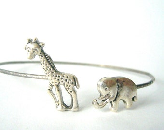 Giraffe cuff bracelet with an elephant wrap style, animal bracelet, charm bracelet, bangle